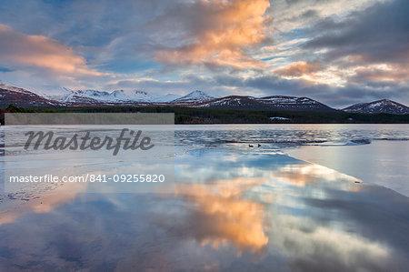 Dawn breaking over Loch Morlich, Glenmore, Scotland, United Kingdom, Europe