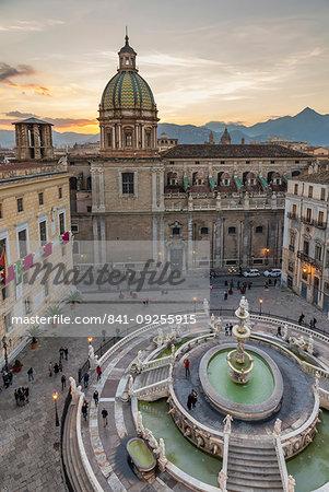 High-angle view of Praetorian Fountain (Fontana Pretoria) and San Giuseppe dei Padri Teatini church, Palermo, Sicily, Italy, Europe