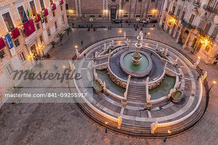 The Praetorian Fountain (Fontana Pretoria) , Praetorian Palace and  San Giuseppe dei Padri Teatini Church, Palermo, Sicily, Italy, Europe