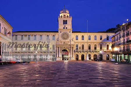 The Astronomical clock at night, Piazza dei Signori , Padua, Veneto, Italy, Europe