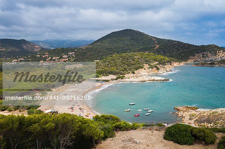 Spiaggia di Su Giudeu beach, near the village of Chia, Sardinia, Italy, Europe