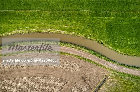 Ditch, dyke, ploughed field and pasture, overhead view, Maasdijk-Heenweg, Zuid-Holland, Netherlands