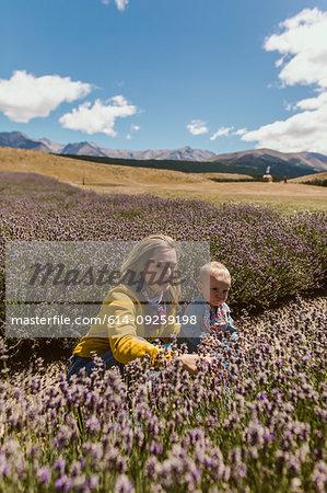 Mother and baby relaxing in meadow, Wanaka, Taranaki, New Zealand