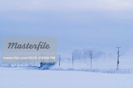 Train on railroad tracks through snowy plain