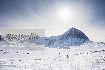 Kungsleden ski track by mountain in Lapland, Sweden