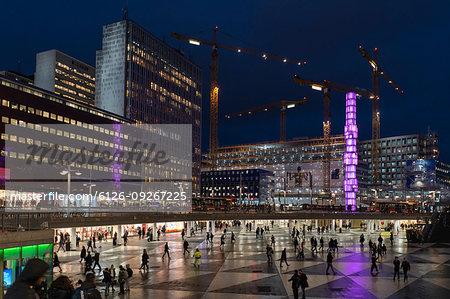 Sergels Torg at night in Stockholm, Sweden