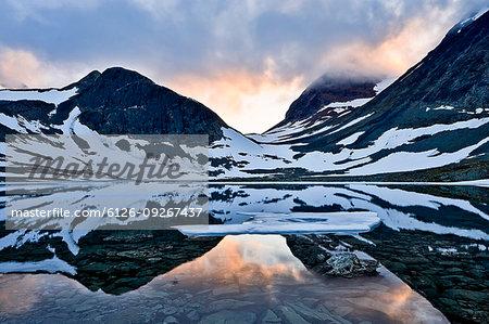 Tjakjatjakka Mountain at sunset in Sweden