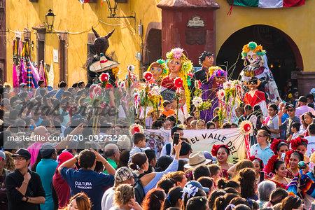 Crowd of people watching the La Resena Parade in San Miguel de Allende, Guanajuato, Mexico