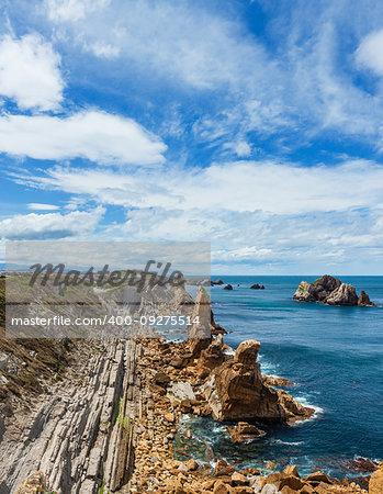 Arnia Beach (Spain) Atlantic Ocean coastline landscape.