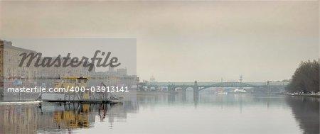 Boat on Moskva River in spring
