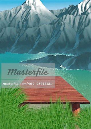 Mountain lake - Highly detailed cartoon background 35 - illustration