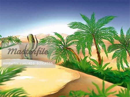 Oasis - Highly detailed cartoon background 42 - illustration