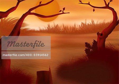 Red sunset - Highly detailed cartoon background 49 - illustration