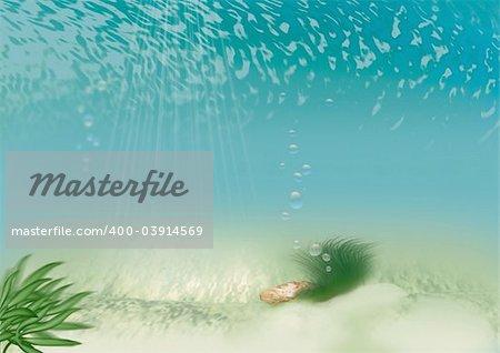 Underwater beach - Highly detailed cartoon background 56 - illustration