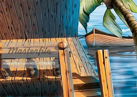 Veranda houseboat - Highly detailed cartoon background 60 - illustration
