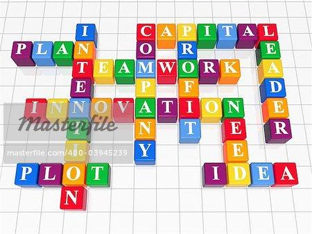 3d color boxes crossword - capital, teamwork, innovation, plan, plot, idea, intention, company, profit, need, leader