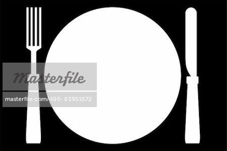 Illustration of fork, plate and knife