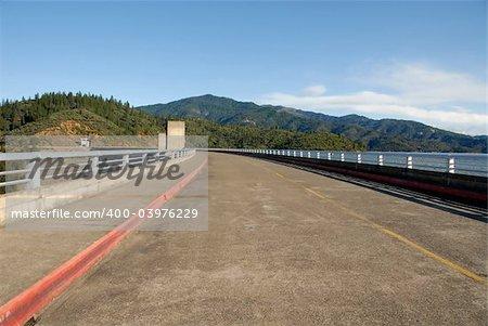 Road across Shasta Dam, Shasta Lake, California