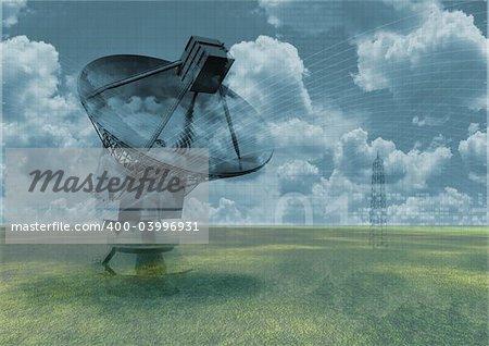 radio telescope on abstract background