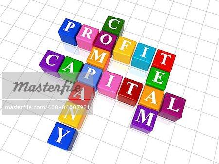 3d colour boxes crossword - company, capital, profit, team