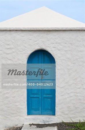 Blue door in a house in El Golfo, Lanzarote, Canary Islands, Spain