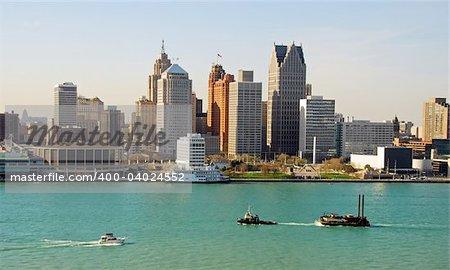 Typical American city skyline (Detroit, Michigan)