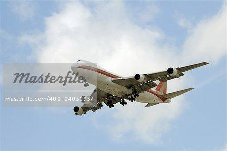 Heavy cargo jet Boeing 747 in flight