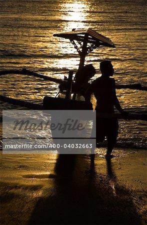Sunset at Kuta in Bali,Indonesia