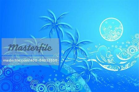 tropic beach night vector