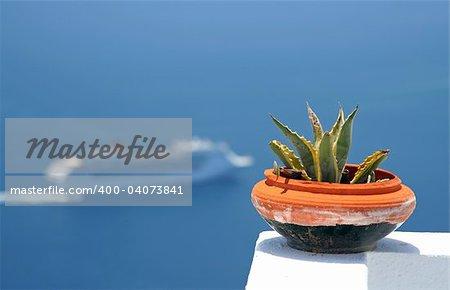 View of a cruise at Santorini Island, Greece