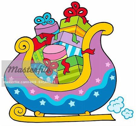 Christmas sledge full of gifts - vector illustration.