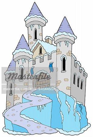 Frozen castle on white background - vector illustration.