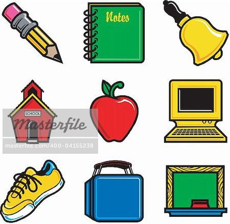 Nine fun school icons. Very easy to edit. Vector Illustration.