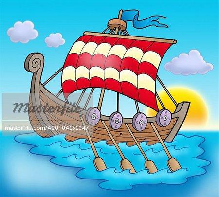 Viking boat on sea - color illustration.