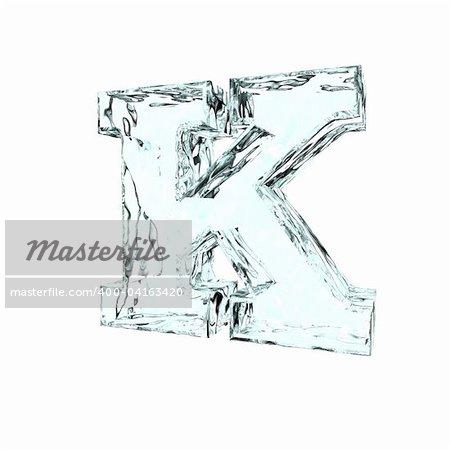 frozen uppercase letter k on white background - 3d illustration