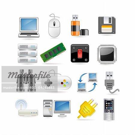 Illustration of technology icon set