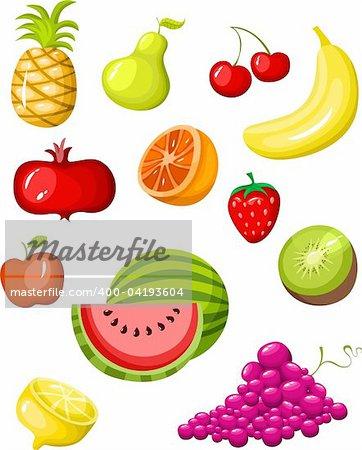 vector illustration of a fruit set