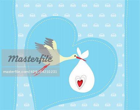 Baby boy arrival announcement card vector illustration