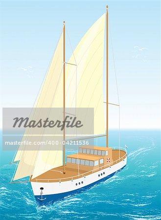 Sailing sea ship on waves. Vector Illustration. EPS8.