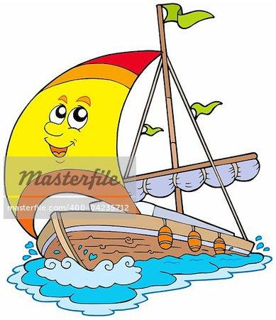 Cartoon yacht on white background - vector illustration.