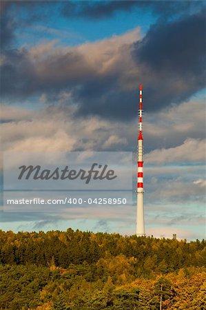 TV Transmitter in autumn forest