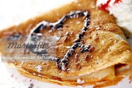 sweet pancakes with chocolate creams