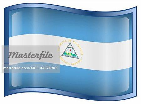 Nicaragua Flag Icon, isolated on white background.