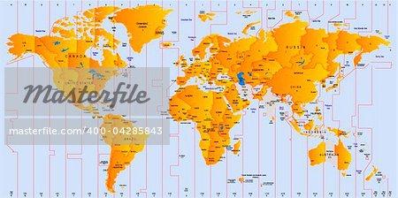 Timezone map - vector color illustration