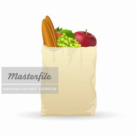 illustration of fresh fruits in bag on white background