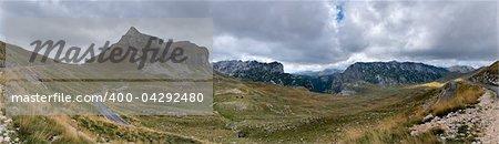 Poscenska valley in National park Durmitor in Montenegro. Wide panoramic image
