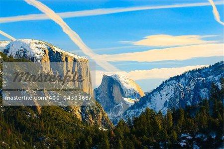 view of beautiful Yosemite valley at sunset
