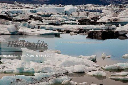 Jokulsarlon lake iceberg lagoon  Southeast of Iceland. Summer day