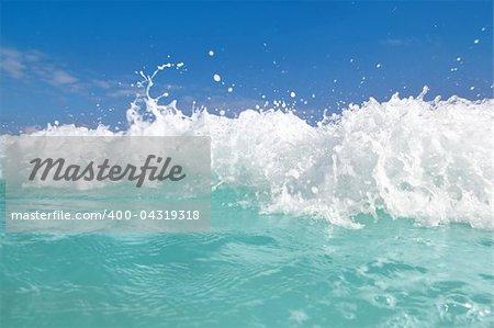 beautiful blue turquoise wave caribbean sea water foam