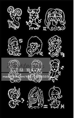 Horoscope woman black background Symbols, Astrology vector set 2